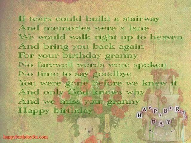 Happy Birthday Wishes for Grandma (Grandmother) in Heaven or Who Passed Away