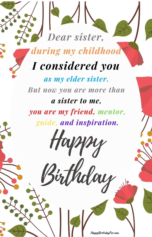 Happy Birthday Wishes Image For Elder Sister messages