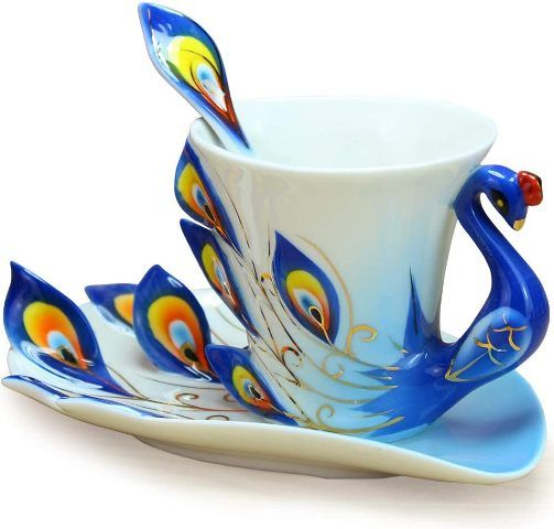 Peacock Porcelain Tea cup container birthday gifts