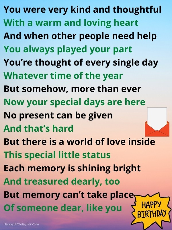 Happy Birthday Wishes Poem in Heaven who passed away Image