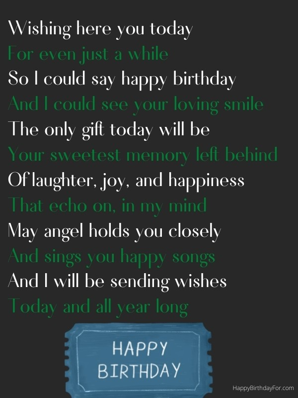 Happy Birthday Poem Wishes in Heaven who passed away