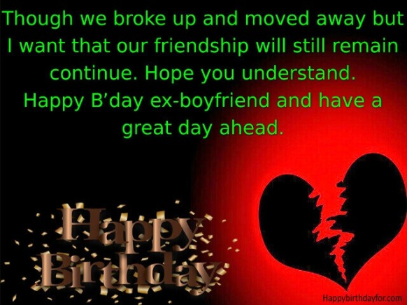 Happy Birthdays Quotes for Ex Boyfriends with Text Messages photo wallpapers images pics Greetings Card