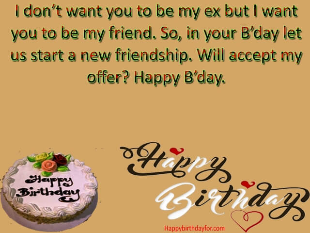 Happy Birthdays Quotes Greetings Cards for Ex Girlfriends with Text Messages wallpapers images photo pic