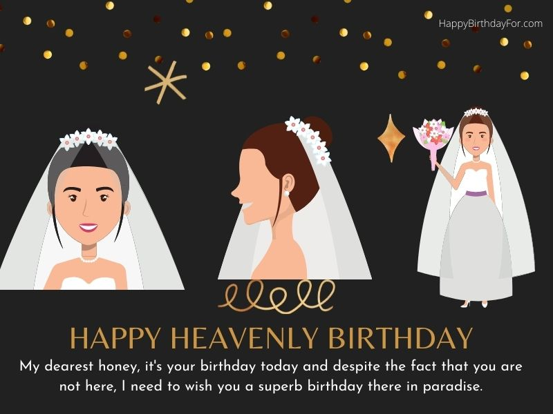 Happy Heavenly birthday wishes for wife images