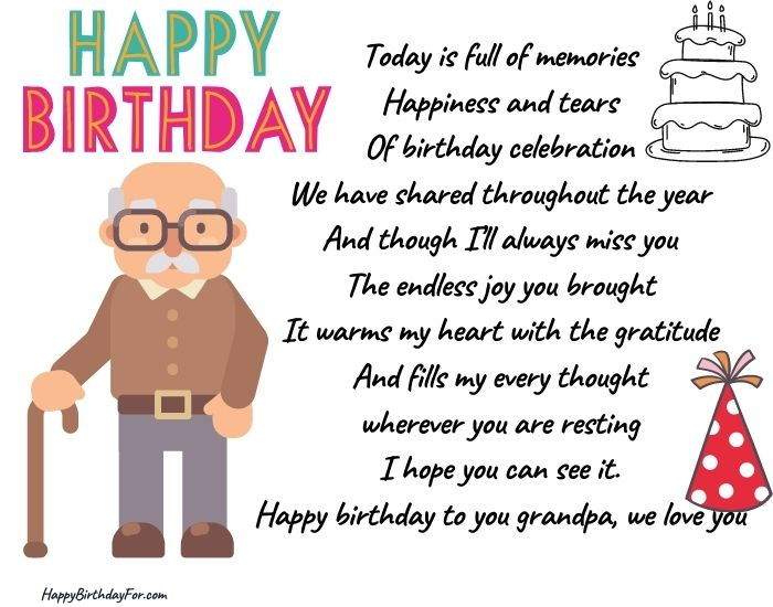 Happy birthday short poems for Grandfather who passed away