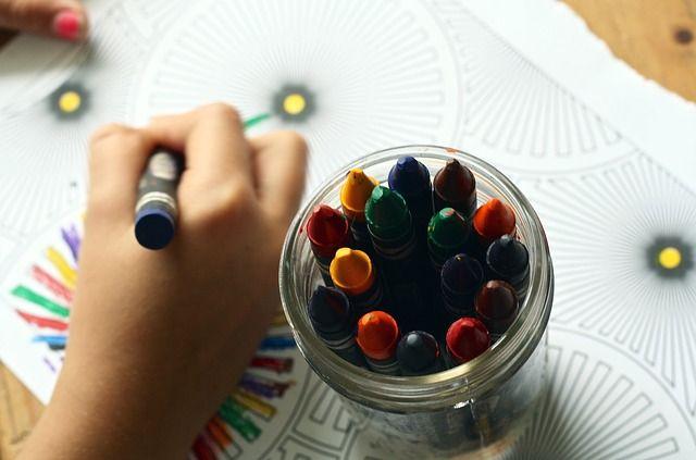 crayons coloring book kids birthday indoor game image