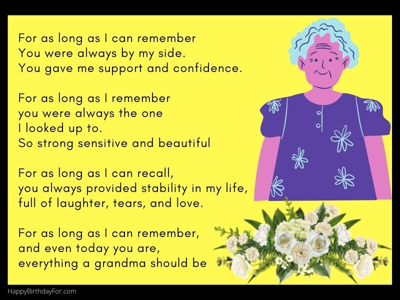 Grandmother birthday wishes in heaven image poems