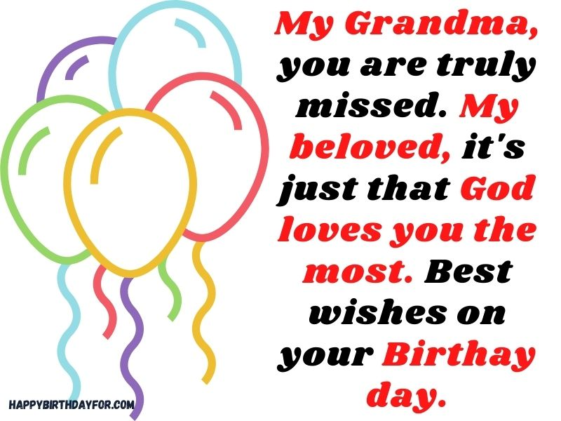 Simple happy birthday Messages for grandma in heaven