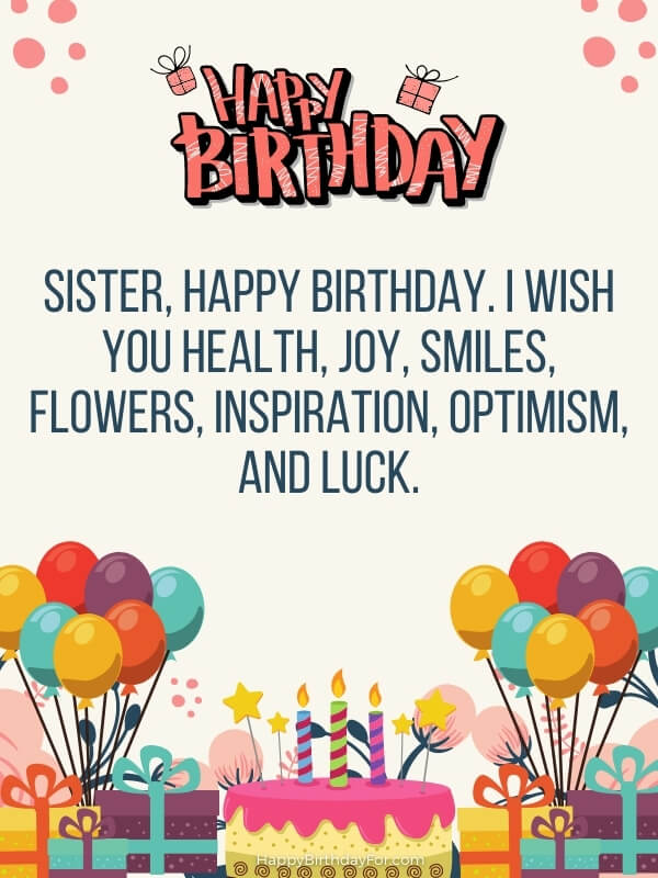 Birthday Messages For Younger Sister