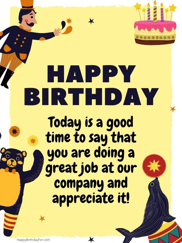 Happy Birthday for employee office staffs boss workers labors